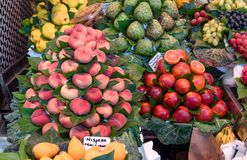 Fruit market, fresh fruits, market stall, food background. Fresh ripe juicy fruits and vegetables at a local la Boqueria market in Barcelona, Spain stock image