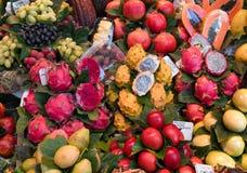 Fruit market, fresh tropical fruits, pitahaya, food background Stock Photo