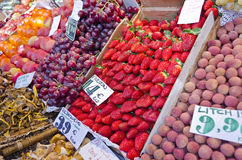 Fruit market in Madrid - Spain. Fruit in the spanish market of San miguel in Madrid - Spain Royalty Free Stock Images