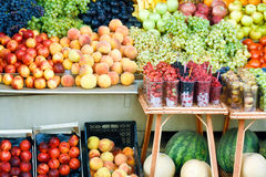 Fruit market - many colorful fruits Royalty Free Stock Photography