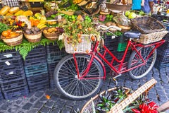 Fruit market with old bike Stock Image