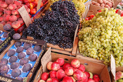 Fruit at market with price tags for sale Royalty Free Stock Photo