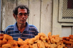 Fruit market seller in Indonesia Royalty Free Stock Photography