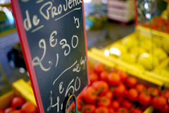 Fruit market sign in france. Euro sign in fruit market in french village Stock Images