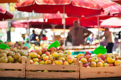 Fruit market stall. Market stall with organic apples stock photography