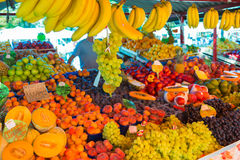Fruit market stall. Market stall with variety of organic fruits royalty free stock photos