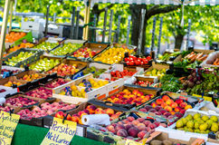 Fruit market. Stand in sweden Stock Photo