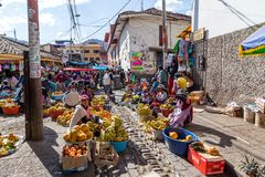 Fruit market in the steets of Cusco, Peru royalty free stock image