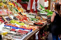 Fruit market with various colorful fresh fruits and vegetables. stock photography