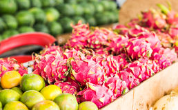 Fruit market with various colorful fresh fruits and vegetables Royalty Free Stock Photo