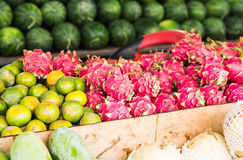 Fruit market with various colorful fresh fruits and vegetables Stock Image