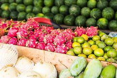 Fruit market with various colorful fresh fruits and vegetables Stock Photography