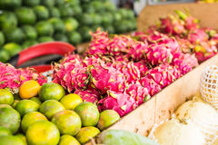 Fruit market with various colorful fresh fruits and vegetables Royalty Free Stock Photos