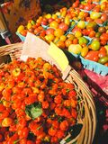 Fruit market with various colorful fresh fruits and vegetables. In shop stock image