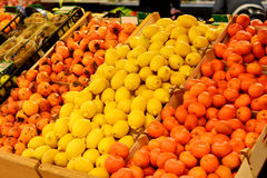 Fruit market with various fresh fruits and vegetables. Supermarket Royalty Free Stock Photos