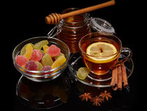 Fruit marmalade, honey and tea. Stock Images