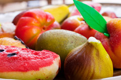 Fruit of marzapane Stock Images