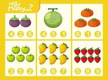 Fruit math number worksheet stock illustration