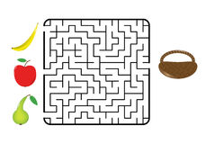 Fruit maze. Maze game for children. Find the way for fruit (banana, apple, pear) to the basket. Only one way is correct. Vector illustration Stock Photography