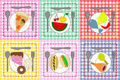 Fruit, meat, cakes and other food on colorful plat. Vector illustration of various food on colorful plates background Stock Photo