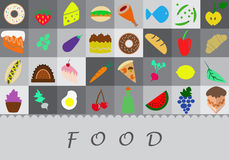 Fruit, meat, cakes and other food illustrations. Vector illustration of various food on grey background Royalty Free Stock Photography
