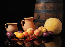 Fruit, melon and barrel Royalty Free Stock Photography