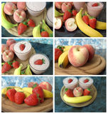 Fruit and milk shakes. Collage with fruit and milk shakes and smoothies Royalty Free Stock Photography