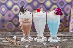 Fruit milkshakes stock image