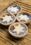 Fruit mince tarts for christmas day on cooling rack and chopping board. With icing sugar Royalty Free Stock Photos