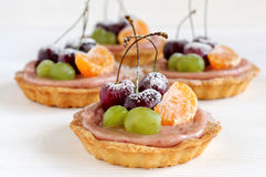 Fruit mini tarts with cherry Stock Photo