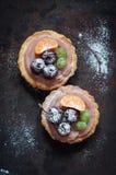 Fruit mini tarts with, flat lay Royalty Free Stock Photography