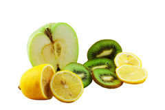 Fruit mix. Lemon, kiwi and an apple isolated on a white background Royalty Free Stock Photography