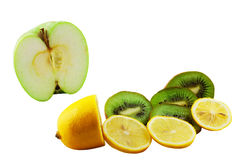 Fruit mix. Lemon, kiwi and an apple isolated on a white background Stock Images