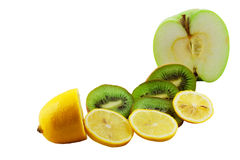 Fruit mix. Lemon, kiwi and an apple isolated on a white background Royalty Free Stock Image