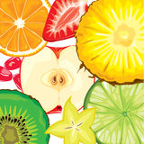 Fruit mix. Mix fruit slices on white color Royalty Free Stock Photos