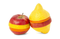 Fruit mix. Of apple, lemon and tangerine on wight background Royalty Free Stock Photography