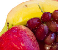 Fruit Mix. Banana with grapes and apple Royalty Free Stock Photos