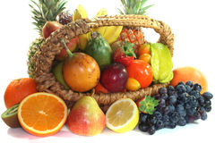 Fruit mix in the basket Stock Photos