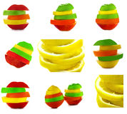 Fruit Mix. Collection and collage. Royalty Free Stock Photos