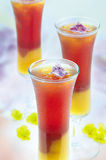 Fruit mix drink. Asian fruity mixed drink decorated with flower Royalty Free Stock Image
