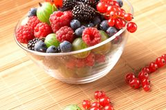 Fruit mix in the glass container Royalty Free Stock Images