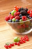 Fruit mix in the glass container Stock Photography
