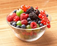 Fruit mix in the glass container Royalty Free Stock Photos