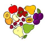 Fruit mix isolated in heart shape on white Stock Photos