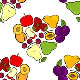 Fruit mix isolated in heart shape on white seamless pattern Stock Photos