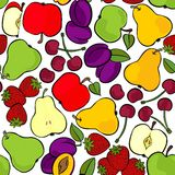 Fruit mix isolated on white seamless pattern Royalty Free Stock Photos