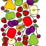 Fruit mix isolated on white seamless vertical border Royalty Free Stock Photo