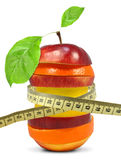 Fruit mix with meter. On white Stock Photo