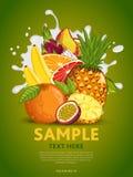 Fruit mix on milk splash Royalty Free Stock Images
