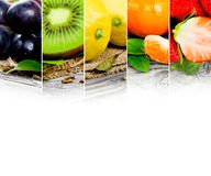 Fruit mix. Photo of colorful fruit mix with white space for text royalty free stock images